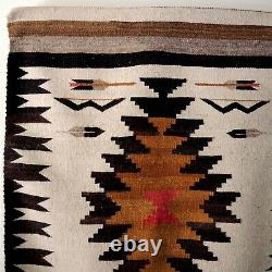 Vintage Navajo Rug Pictorial Bow Arrow Feather Wall Mount Southwest Wool Weaving