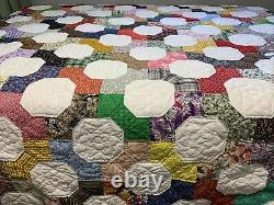 Vintage Patchwork Quilt Bow Tie 89x96 Hand Quilted Handmade