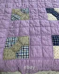 Vintage Quilt Bow Tie 64x77 Hand Quilted Purple