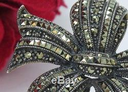 Vintage Sterling Silver Marcasite Bow Shaped Ribbon Brooch Pin Big & Heavy 925