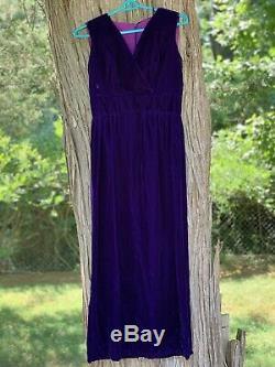 Vintage Velvet Purple Sleeveless Evening Dress Bows Split
