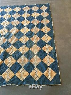 Vintage early 1900's Bow Tie Quilt 66 x 76 Blue, White, Cream, Beige HANDMADE