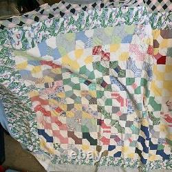 Vintage quilt hand sewn bow tie pattern floral feedback backing full queen