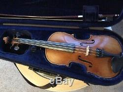 Violin 1/2 Size. Hand Made. No Label. Good Bow. Dominant Strings. Exc. Tone