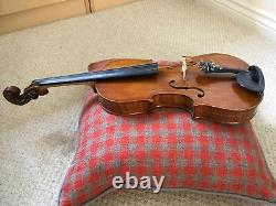 Violin handmade with bow, both believed German c1920s Dominant strings and case