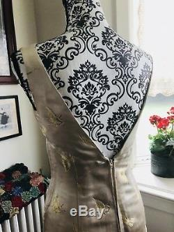 Vtg 60s Silk Cream Gold Embossed Party Dress w Jacket Suit Wedding S M VLV Bow
