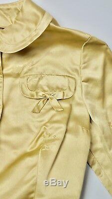 Vtg Fine Silk Damask Hong Kong Shirt Waist Vintage Dress Knot Buttons Bows