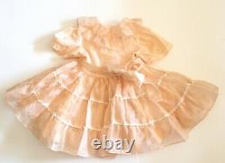 Vtg Little Girl Dress Sheer Ruffles Circle Skirt Bows Flaws Peach Handmade