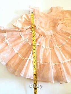 Vtg Little Girl Dress Sheer Ruffles Flare Bows Peach Handmade Flowers