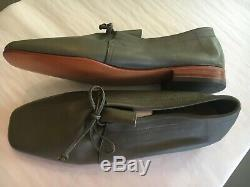 WELCOME Brand Fine Hand Made Italian All Leather Women's Flats Shoes Grey Size 8