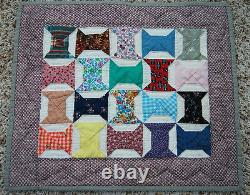 WONDERFUL Miniature Bow Ties Signed & Dated Doll Quilt BEAUTIFUL FABRICS