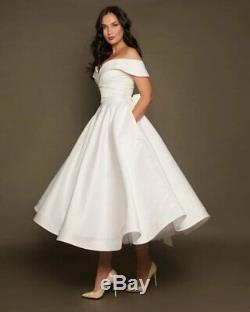 Wedding Dress Size 4 6 8 by VehovaDresses Tea Length Short Wedding Dress Satin