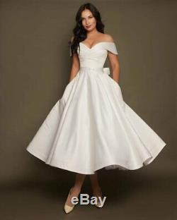 Wedding Dress Size 4 by VehovaDresses Tea Length Short Wedding Dress Satin