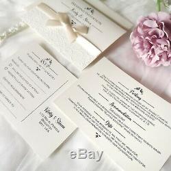 Wedding/Evening Invitations EMBOSSED Personalised bow ribbon folded modern