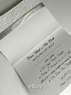 Wedding/Evening Invitations EMBOSSED Personalised theme bow ribbon folded