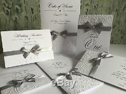 Wedding Evening Invitations, Handmade, Embossed, winter swirl, bow, PERSONALISED