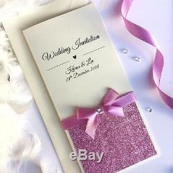 Wedding/Evening Invitations Personalised GLAMOUR Tall Long Folded bow glitter