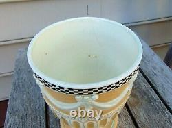 Wedgwood Engine Turned White Stoneware Vase with Swags & Bows 1778-1785