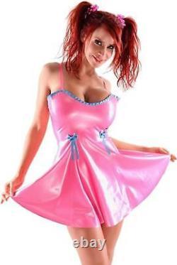Westward Bound Latex Baby-Doll Dress Pearl Sheen Fuchsia with Baby Blue Trim