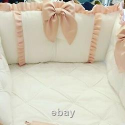 White Cot Bedding Tufted Bumper and Filled Quilt Ruffles + Bows Unisex Colours