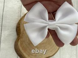 White Satin Ribbon Christening Baptism Headband Soft Nylon Baby Bow Newborn Gift