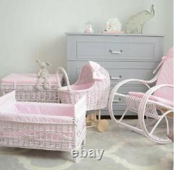 Wicker Doll Pram with Wooden Wheels + Quilted Edging + Bow 4 Models Best Quality