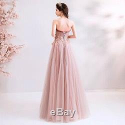 Women Wedding Bridal Handmade Embroidery Luxury Prom Evening Formal Dress Bows L