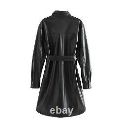 Women real leather Gothic leather Dress Black leather Long Coat Party dress