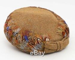 Women's Mid Century Pillbox Bumper Hat with Feathers & Bow Authentic Handmade