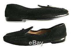 Womens Handmade BELGIAN SHOES Black Suede MIDNETTE Loafers Size 7 M NWOB