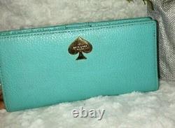 Womens Kate Spade Pebble Leather Handbag & Wallet 3 Pc Set Aqua Blue EUC