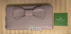 Womens NWT Kate Spade Bow Bone Grey Olive Drive Lacey Pebble Leather Wallet