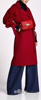 Zara Maroon Red Wool Blend Handmade Coat With Bow, Size S-bnwt